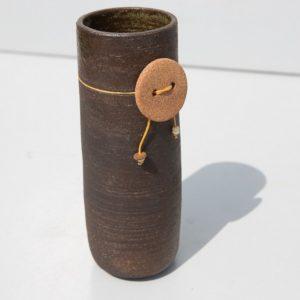 Vase grès noir, terre brute