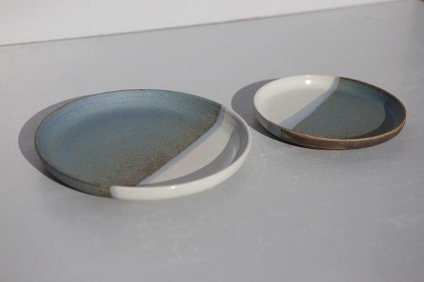Duo assiette grès bleue, juliette lecuyer, céramique, Bretagne